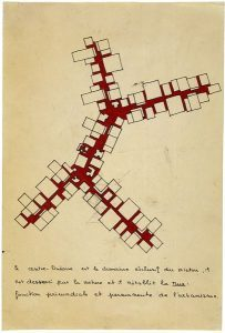 Candilis-Josic-Woods, Concept of 'trunk' in project for Caen-Herouville (France), 1961: